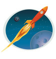 spaceship flying through space banner vector image vector image