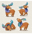 Sticker set of cute cartoon hand drawn elks vector image vector image