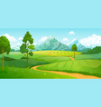 summer mountains landscape cartoon nature green vector image