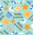 summer theme seamless pattern with hello summer vector image vector image