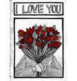 vintage love card of a man with red flowers vector image