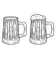 vintage mug beer in engraving style design vector image vector image