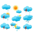 web weather symbols set blue color vector image vector image