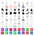 wedding and attributes cartoon icons in set vector image vector image