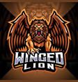 winged lion esport mascot logo design vector image vector image