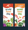 world food day flyer design with broccoli fish vector image vector image