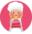 Girl with cake baker vector image