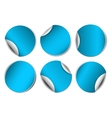 Set of blue round promotional stickers vector image