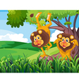 A tree with two playful lions vector image vector image