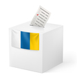 Ballot box with voting paper Canary Islands vector image vector image