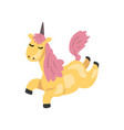 beautiful unicorn with pink mane magic fantasy vector image