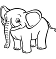 Black and white cartoon elephant vector image