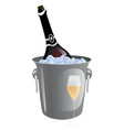 bottle of festive champagne laying in ice vector image vector image