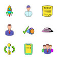 business rocket icons set cartoon style vector image vector image