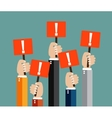 businessmens hands holding red sign boards vector image