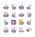butterfly emoticon set vector image vector image