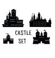 castle set ancient castle building silhouette vector image vector image