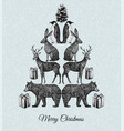 christmas tree hand drawn animal mirror print vector image vector image