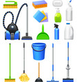 Cleaning Equipment Kit Flat Icons Set vector image vector image