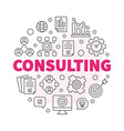 consulting round outline business vector image