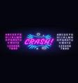 crash neon text design template comic vector image vector image