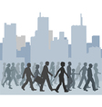 Crowd of people walking city skyline vector | Price: 1 Credit (USD $1)