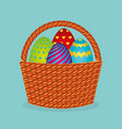 cute basket with eggs painted vector image vector image
