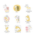 cute little giraffe logo template original design vector image