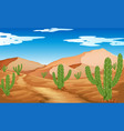 desert scene with mountains and cactus vector image vector image