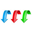 down arrows 3d shiny colored signs vector image vector image