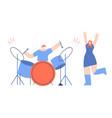 drummer concert music people festival flat cartoon vector image vector image