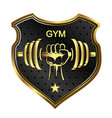 dumbbell in hand and shield vector image