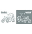 farm tractor with sketch style line art design vector image vector image
