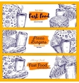Fast food snacks and drinks sketch banners set vector image vector image