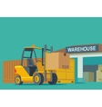 Forklift carries a box in storage vector image