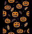 funny hand drawn angry pumpkins pattern vector image