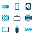 gadget icons colored set with printer joystick vector image vector image