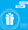 gift box icon on a blue background with abstract vector image