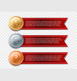 gold medal banner award ribbon vector image