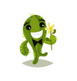green cactus with bow-tie and flower in hand vector image vector image