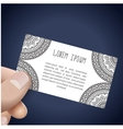 Hand with business card in ethnic style vector image vector image