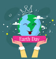 happy earth day cute greeting card with hand vector image vector image
