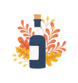 happy thanksgiving day wine bottle foliage autumn vector image vector image
