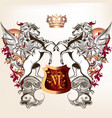 heraldic design with shield two winged horses vector image