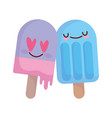 ice cream in sticks love hearts menu character vector image