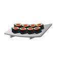 japanese sushi rolls on the white plate vector image vector image