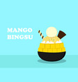 korean dessert mango bingsu on blue art vector image