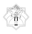 line clown boy with balloons and party flags vector image