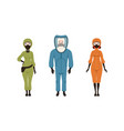 man and woman wearing protective uniform with vector image