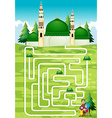 Maze game with people and mosque vector image vector image